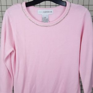 Pink Sweater with Beaded Neckline